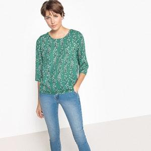 Blusa de gola redonda, mangas 3/4, estampado floral ONLY