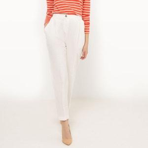 Pantalon droit, taille haute, Lin R essentiel