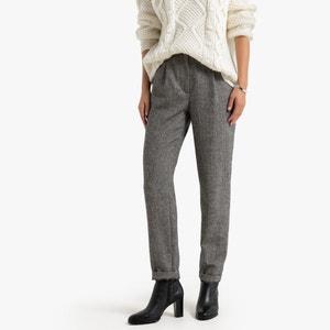 Slim broek met visgraatmotief