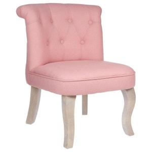 Fauteuil Crapaud dossier capitonné en tissu couleur vieux rose et pieds bois gablés 46x49xH58cm PIER IMPORT