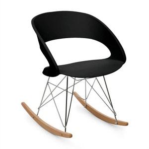 oneConcept Travolta Chaise à bascule rétro coque plastique dur & bois - noir ONECONCEPT