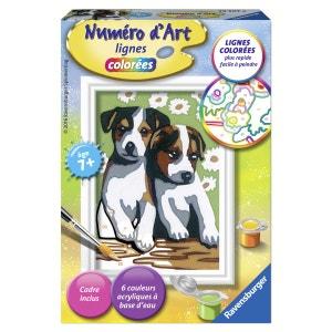 Peinture au numéro : Numéro d'Art lignes colorées : Deux petits chiots RAVENSBURGER