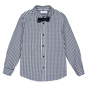 Camisa de cuadros con pajarita 3-12 años