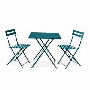 Salon de jardin bistrot pliable Emilia carré bleu canard, table 70x70cm avec deux chaises pliantes, acier thermolaqué ALICE S GARDEN