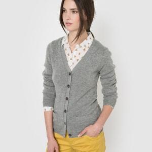 Sweter rozpinany,dekolt w szpic, 50% wełny R essentiel