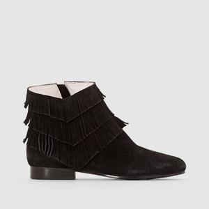 Boots, Veloursleder, Absatz, Fransen