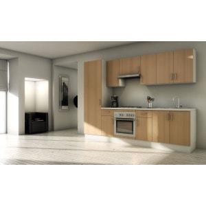 Pack cuisine complète MARBELLA Hêtre 280cm - Meubles en kit 10 éléments MENNZA