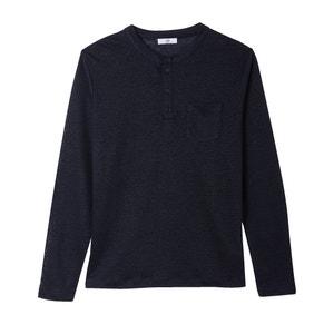Lniany T-shirt z długimi rękawami i stóką mao La Redoute Collections