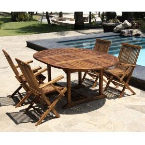 Salon de jardin en bois de teck huilé 4/8 personnes - table ovale avec 4 fauteuils BOIS DESSUS BOIS DESSOUS
