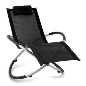 Chilly Billy Chaise longue jardin transat aluminium -noir BLUMFELDT