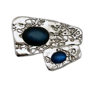 Broche métal argenté et pierres couleurs collection QAZAR LILI LA PIE