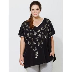 Kurzarm-Bluse mit Blumenmuster und V-Ausschnitt MAT FASHION