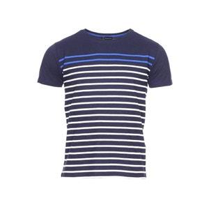 Tee-shirt col rond   en coton   marine à rayures   roi et  coton ARMOR-LUX