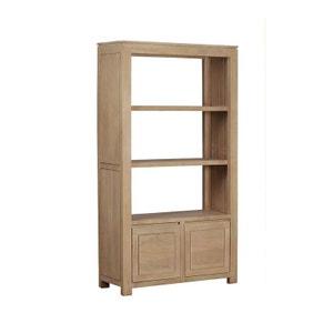 Bibliothèque 2 portes, 2 étagères, Manguier massif 100x38x180cm BOREAL CLAIR PIER IMPORT