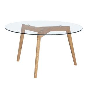 Table basse ronde verre et bois Ø90cm Ingmar DRAWER