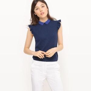 T-shirt sans manche, col maille fantaisie MADEMOISELLE R