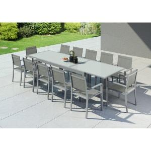 HARA XXL - Table de jardin extensible aluminium 200/320cm + 12 fauteuils textilène Argentée IMS GARDEN