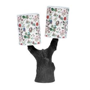 YOU & ME - Lampe à poser Arbre Céramique Noir et abat-jour Tissu Automne H48cm DOMESTIC