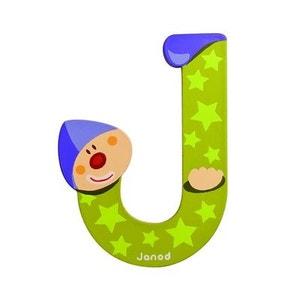 Lettre décorative clown en bois : J JANOD