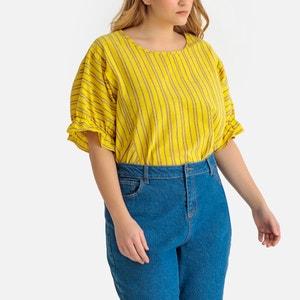 Gestreepte blouse met ronde hals, korte mouwen met volants