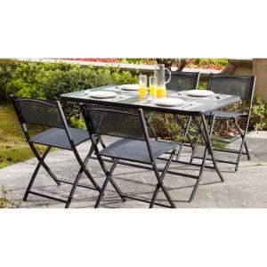 Table de jardin et 4 chaises pliantes en acier et verre OVIALA