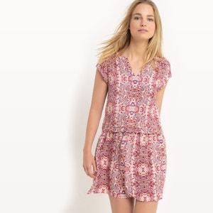 Bedrucktes, fliessendes Kleid mit kurzen Ärmeln SUD EXPRESS