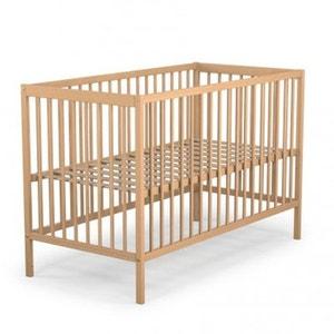 Lit bébé en bois hêtre vernis Baby Fox à barreaux  3 hauteurs 60 x 120 cm BABY FOX