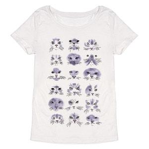 Tee-shirt femme en coton bio blanc Portraits de Chats MONSIEUR POULET