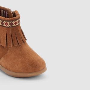 Boots in leer met franjes en rits La Redoute Collections