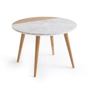 Mesa baja con superficie de mármol blanco y roble CRUESO