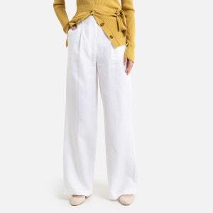 Wijde broek in zuiver linnen