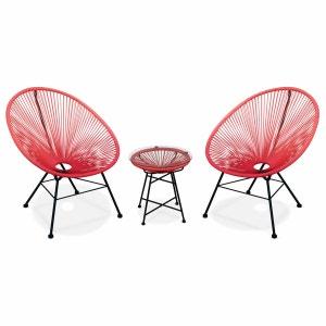 Ensemble de 2 fauteuils Acapulco chaise oeuf design rétro, avec table d'appoint, cordage Corail ALICE S GARDEN