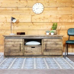 meuble tv industriel en bois vieilli if626a made in meubles - Meuble Tv Made In Design