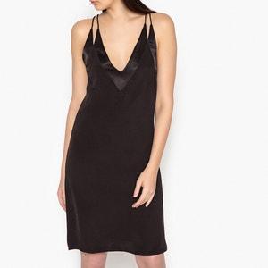 Halblanges Kleid, gerade Form, schmale Träger, uni JOLIE JOLIE PETITE MENDIGOTE