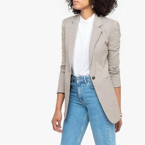 Lange jas, recht model met ruiten print
