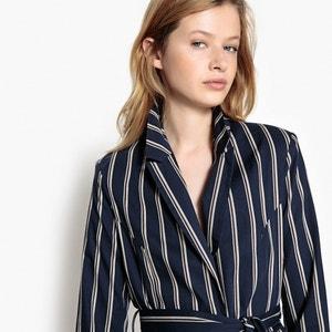 Chaqueta larga estilo blazer a rayas con cintura entallada La Redoute Collections