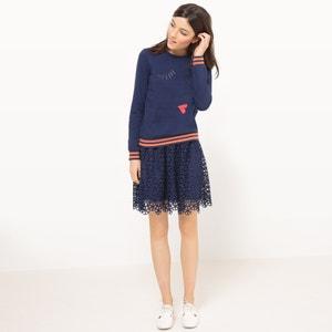 Besticktes Sweatshirt mit Rundhalsausschnitt, Baumwoll-Mix MADEMOISELLE R