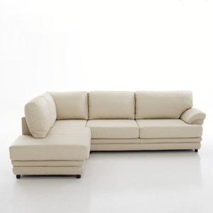 Hoekcanapé, omvormbaar, uitstekend comfort, echt leer, Newcastle La Redoute Interieurs