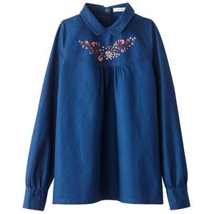 Блузка из денима с вышивкой MADEMOISELLE R