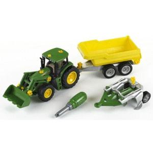 Modèle réduit : Tracteur John Deere avec benne et charrue KLEIN