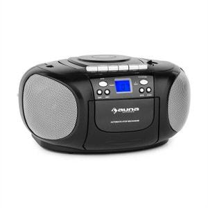 auna BoomBoy Boom Box GhettoBlaster Radio lecteur CD K7 USB MP3 AUX - noir AUNA