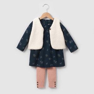 Conjunto colete, vestido e leggings,  1 mês-3 anos R mini