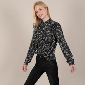 Gebloemde blouse met volants en lange mouwen