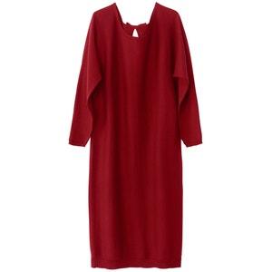 Платье прямое однотонное, средней длины, с длинными рукавами La Redoute Collections
