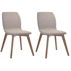 Lot de 2 chaises KENYU en bois hévéa revêtement polyester beige et pieds noyer DECLIKDECO