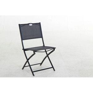 Chaise de jardin pliante métal Modula Noir/Noir HESPERIDE