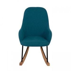 Mini rocking chair en tissu, frêne et métal bleu Evy ZAGO