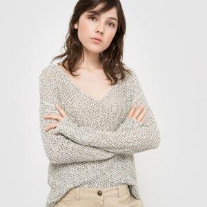 Sweter z dekoltem w serek z dzianiny wstążkowej, długi rękaw R studio