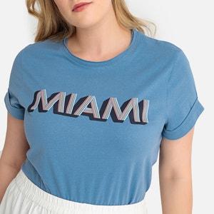 T-shirt met ronde hals en korte mouwen, bedrukt motief