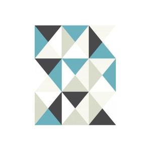 Papier Peint Graphic Polygone Bleu DECLIKDECO